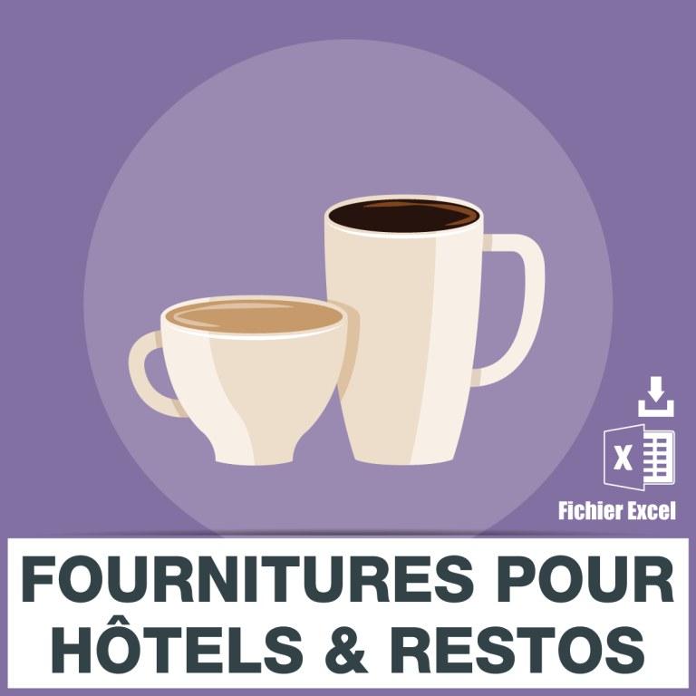 Base des adresses e mails des fournitures pour hotels for Fourniture pour restaurant