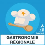 Base adresses e-mails gastronomie régionale
