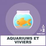 Adresses e-mails aquariums et viviers