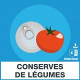 Emails des conserves de légumes
