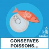 Emails conserves de poissons et de salaisons maritimes