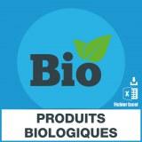 Adresses e-mails produits biologiques