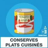 Emails conserves de plats cuisinés