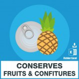 Emails conserves de fruits et confitures