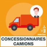 Emails des concessionnaires camions