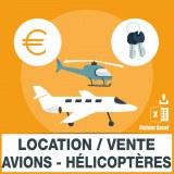 Emails location vente avions hélicoptères