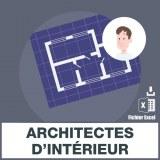 Adresses emails architectes d'intérieur