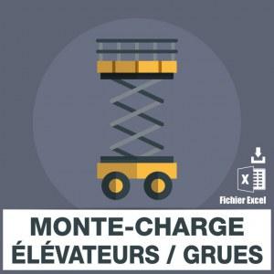 Emails des grues monte-charge elevateurs