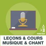 Emails leçons et cours de musique et chant