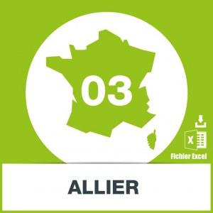 Base d'adresses emails dans l'Allier