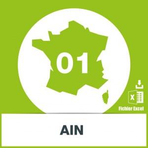 Base d'adresses emails dans l'Ain