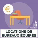 Emails locations bureaux équipés