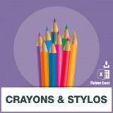Base adresse e-mail crayons stylos
