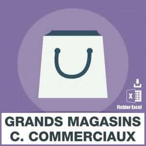 Emails grand magasin centre commerciaux