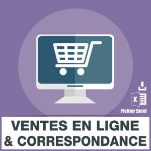 Emails de vente en ligne correspondance