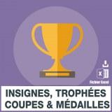 Adresses e-mails insignes coupes trophées