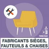 Emails des fabricants sieges fauteuils chaises