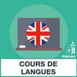 Adresses emails des cours de langues