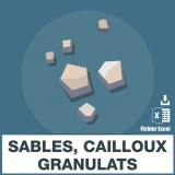 Emails de sables cailloux granulats