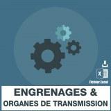 Base des adresses e-mails des engrenages et organes de transmission