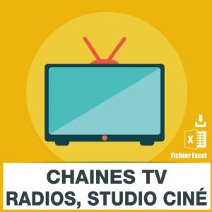 Emails chaines télévision radio studios cinéma