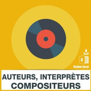 Emails auteurs compositeurs interpretes