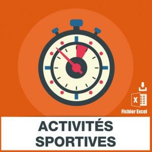 Adresses emails activités sportives