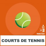 Adresses emails de courts de tennis