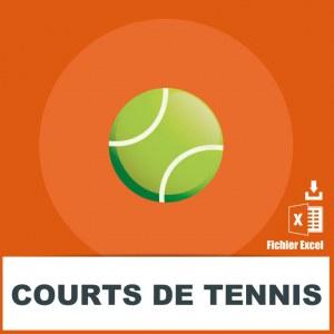 Adresses emails de courts de tennis