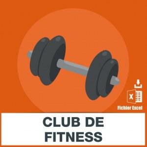 Adresses emails clubs de forme fitness
