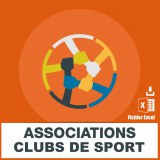 Emails associations clubs de sport