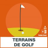 Adresses emails terrains de golf