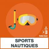 Base adresse e-mail sports nautiques