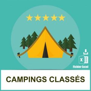 Base adresses emails campings étoilés