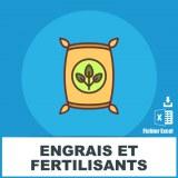 Adresses e-mails engrais et fertilisants