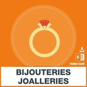Adresses emails bijouteries joailleries