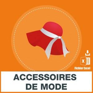 Adresses emails accessoires de mode
