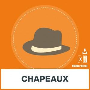 Base adresses e-mails chapeaux