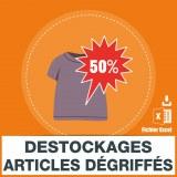 Emails magasins de discount déstockage et d'articles dégriffés