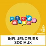 Adresses emails influenceurs sociaux