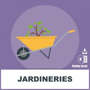 Emails des jardineries vente de vegetaux et de plantes