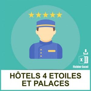 Adresses emails hotels 4 étoiles et palaces