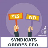 Adresses e-mails syndicats ordres professionnels