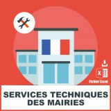 Emails services techniques mairies