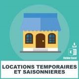 Emails locations temporaires saisonnières