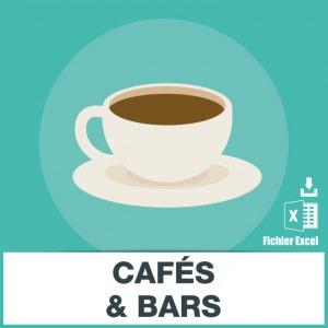 Base adresses emails cafe et bars