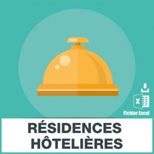 Emails de résidences tourisme hôtelières