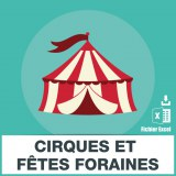 Base d'adresses emails de cirques et d'attractions foraines