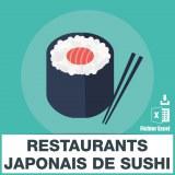 Base adresses e-mails sushi japonais